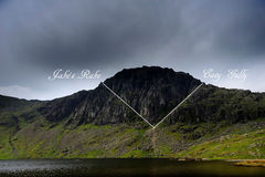 Climbing Paths. Jakes Rake and Easy Gully shown on Pavey Ark royalty free stock photo