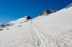 Climbing Pico de Aneto at Aneto Glacier, Pyrenees, Spain. Aneto is the highest mountain in the Pyrenees Royalty Free Stock Photography