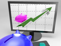 Climbing Pig Shows Goals Success And Profit Royalty Free Stock Image
