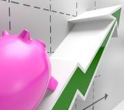 Climbing Piggy Shows Goals Success And Profit Stock Photography