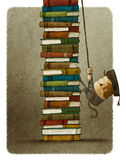 Climbing a pile of books. Illustration of man climbing on rope a pile of books Stock Photos