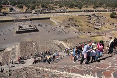 Climbing the Pyramid of the Sun at Teotihuacan ancient pre-Columbian site, Mexico Royalty Free Stock Photography