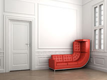 Climbing red couch on classic white Royalty Free Stock Images