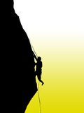 Climbing rock. Illustration of black silhouette on a rock or rock climbing with yellow and white background Royalty Free Stock Image