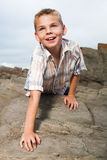 Climbing on the rocks Stock Images