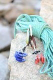 Climbing rope and cams Stock Image