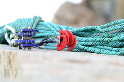 Climbing rope and cams Royalty Free Stock Images