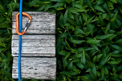 Climbing rope with a carabiner. Climbing rope with a carabiner on a natural background stock image