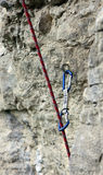 Climbing rope clipped in quickdraw Stock Photos