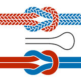 Climbing rope knot symbols Royalty Free Stock Images