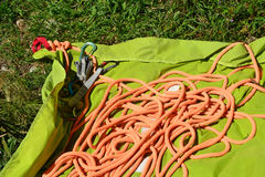 Climbing rope on a mat Royalty Free Stock Image