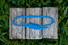 Climbing rope on a natural background. Joined rope ends with double overhand knots Royalty Free Stock Photography