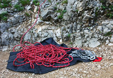 Climbing rope and set of quickdraws Royalty Free Stock Photo