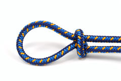 Climbing rope tied in a  loop Royalty Free Stock Image