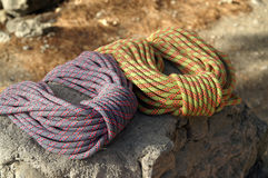 Climbing ropes. Rope lying on the stone Stock Photography