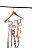 Climbing ropes on hanger. Climbing rope isolated on white Stock Image