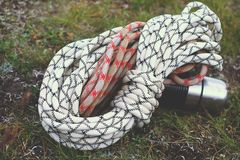 Climbing ropes, rock. Climbing ropes rock, equipment, sport carabiner harness Royalty Free Stock Images