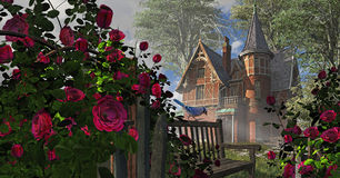 Climbing Rose. A countryside Victorian mansion with climbing rose covered fence, old bench and blue jay
