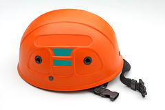 Climbing safety helmet. Safety helmet about climbing and speology background isolated Stock Photo