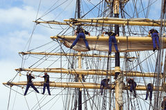 Climbing sailors Royalty Free Stock Images