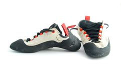 Climbing shoes. Isolated on white background Royalty Free Stock Photos