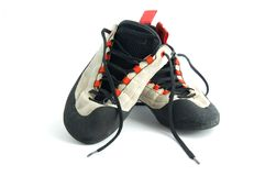 Climbing shoes. Isolated on white background Royalty Free Stock Images