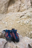 Climbing shoes. On the rock in the Pag Island Stock Photography