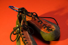 Climbing shoes. Isolated on a colorful background Royalty Free Stock Photos