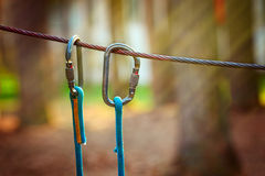 Climbing Sports Image Of A Carabiner On A Metal Rope In A Forest Stock Image