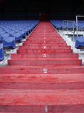 Climbing the stairs. Stairway in a dutch stadium stock photo