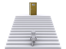 Climbing stairs to find job. 3d person climbing stairs that have a door on top of them Stock Images
