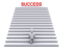 Climbing stairs to success. 3d person climbing stairs that have the word success on top of them Royalty Free Stock Photography
