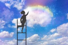 Free Climbing, Stairway To Heaven, Dreams, Hope, Rainbow Royalty Free Stock Photo - 197236365