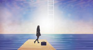 Climbing, stairway to heaven, dreams. Woman silhouette preparing to climb on a ladder in the sky. Development and success concept. Beautiful sky background with stock illustration