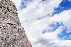 Climbing Steep Rock Walls at the Grassi Lakes near Canmore Royalty Free Stock Image
