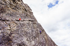 Climbing Steep Rock Walls at the Grassi Lakes near Canmore Royalty Free Stock Images