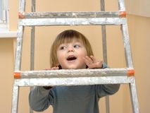 Climbing  step-ladder Stock Photo
