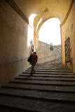 Climbing steps Boboli Gardens. One man walks up a wide stairway to the Boboli Gardens in Florence, Italy royalty free stock images