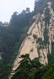 Climbing steps at Hua Shan Stock Images