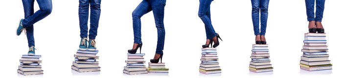 The climbing the steps of knowledge - education concept Stock Photo