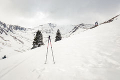 Climbing sticks in snow. Winter scape in Fagaras mountains, tourists in backgound, climbing stick in foreground stock photo
