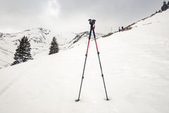 Climbing sticks in snow. Winter scape in Fagaras mountains stock photo