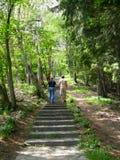 Climbing a stone stair Stock Photo