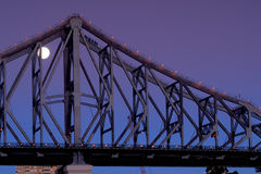 Climbing the Story Bridge under moonlight Royalty Free Stock Image