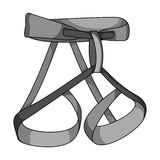 Climbing strapping, insurance.Mountaineering single icon in monochrome style vector symbol stock illustration web. Stock Image