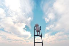 Climbing of Success. 3d illustration of 3d stick man climbing stair to the sky for pursuit his dream Stock Photo