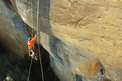 Climbing in tavertet. Rope and climbing test Royalty Free Stock Photos