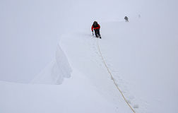 Climbing on Titnuld Caucasus Mountains Stock Images