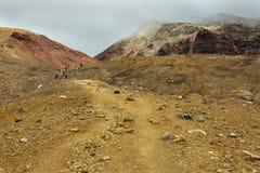 Climbing to active volcano Mutnovsky on Kamchatka. Stock Photos
