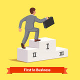 Climbing to business success concept. Businessman with suitcase making a step to fist place on podium. Climbing to business success concept. Flat style vector Stock Image